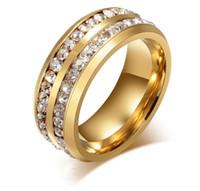 piedra de luna amarilla al por mayor-Oro de la manera chapado en plata de acero inoxidable dos filas Swarovski anillos de cristal para hombres Mujeres amantes 'anillos de dedo anillo de los hombres joyería de la boda
