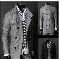 Wholesale gray trench coat men - Free Shipping Black Grey Men's Wool Coat Double Breasted Shoulder Epaulets Long Trench Coats Dropshi Free Shipping