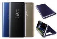 nota protector de pantalla espejo al por mayor-Electrochape Clear Smart Kickstand Espejo View Flip Cover Sleep wake Phone Case Protector de pantalla para Galaxy S9 S8 Plus S7 Note 8 A8