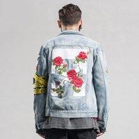 Wholesale Casual Male Jackets - Autumn Winter Original Brand Mens Retro Slim Fit Denim Jeans Jacket Male Vintage Casual Outdoor Coats hombre Hip Pop Streetwear Oil Painting