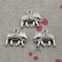 Wholesale Halloween Thailand - 35pcs Charms Jewelry Thailand mounts elephant 16*20mm pendant Zinc Alloy Ancient Sliver DIY Craft Necklace Bracelet Accessories