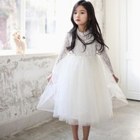 Wholesale Tutu Pink Trim - Princess Girls Lace Trimmed Embroidered Dress With Crystal Chain Necklace Long Sleeve Western Baby Children Clothes High Quality