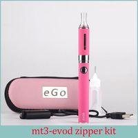 Wholesale E Cigarette Mah - MT3 EVOD Zipper Case Starter kit E cigarette 2.4ML Vaporizer 650 900 1100 mah EVOD Battery 510 Thread Electronic Cigarette