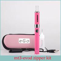starter evod kit fall großhandel-MT3 EVOD Zipper Case Starter Kit E Zigarette 2.4ML Vaporizer 650/900/1100 mah EVOD Batterie 510 Thread Elektronische Zigarette
