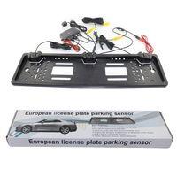 Wholesale Lcd Car Parking Sensors - European License plate car parking sensor PZ600L four sensors human voice Bibi sound alarm 64 colors to choose Free post epacket