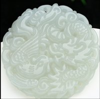 Fashion STYLE A Grade Natural Jade (жадеит) / Bless Dragon Phoenix Pendant
