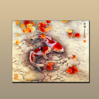 Wholesale Wall Paint Fish - Free shipping Modern Home art wall decor Prints art China's wind Feng Shui Fish Koi painting HD Picture Printed on canvas