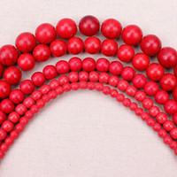 ingrosso pietra del turchese del braccialetto del branello rosso-Perline di pietra naturale 4,6,8,10,12mm Dia Rosso Rotondo Riempito Turchesi Perline Pietra Bead Braccialetto DIY Collana Fare Mestiere