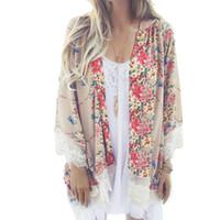 Wholesale Ladies Summer Lace Cardigan - Wholesale- 2017 Spring Summer Women Floral Printed Kimono Ladies Casual Open Stitch Loose Outerwear Plus Size Cardigan Coat Tassel Cape