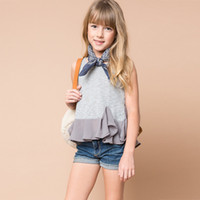 Wholesale Lotus Classic - New Big Girls Top Shirt Lotus Leaf Edge Children Clothing Sleeveless Vest Tshirt Tops Kids Girl's Shirts Summer Clothes Silver A5931