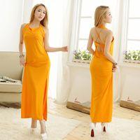 gelber seidenpyjamas großhandel-Arbeiten Sie Unterwäsche-Reihe der Frauen hohlen Pyjamas Sling langes Kleid Shiny Eis seide Nachtwäsche Gelb um Freies Verschiffen