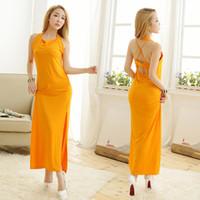pijama de seda amarillo al por mayor-Serie de la ropa interior de las mujeres Hollow pijamas Sling vestido largo ropa de dormir de seda de hielo brillante amarillo envío gratis