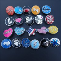 Wholesale Enamel Charms Mix - 30pcs lot Mix Assorted Enamel Noosa Chunks Metal Ginger 18mm Snap Buttons Charms For Diy Bracelet Jewelry Findings