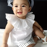 Wholesale Matching Top Shorts - Hotsale Ins Girls tops Big Cape collar Solid white tops T shirt 2017 Summer Baby clothing Sleeveless All-matched 100%cotton