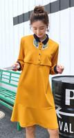 schwangere frauen beiläufige abnutzung großhandel-Frauen-Revers-Longsleeve-beiläufige Brust-feed Lose Mutterschaftsabnutzung Frauen-schwangere Kleid-Größe M L XL DXW145