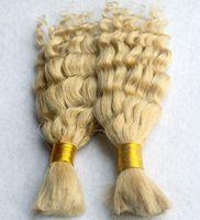 Wholesale Blonde Human Braiding Hair - Brazilian Unprocessed Hair Deep Wave Braiding Hair Bulk no attachment 100% Hair Human Extensions #613 Bleach blonde