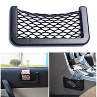 Wholesale Automotive Tool Storage - Wholesale- Car Net Bag Car Organizer Nets 15X8cm Automotive Pockets With Adhesive Visor Car Styling Bag Storage for tools Mobile phone