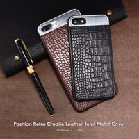 Wholesale Mobile Phone Metal Shell - For Iphone 7 shell apple 6 crocodile skin line metal splicing mobile phone protective cover 7plus skin shell