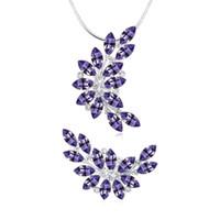 collier de perles de verre coeur bleu achat en gros de-2017 Haute Qualité Mode Fine Party Bijoux Charme Lady Marque Cristal Autrichien Collier Broches Ensemble de Bijoux Livraison Gratuite