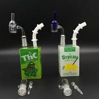 inç mini bonglar toptan satış-Hitman Cam Su Bong Tahıl Kutusu Suyu Kutusu Yağ Dab Kuleleri Mini Fıskiye 7.5 inç Taşınabilir Su Bongs ile Kuvars Banger Tırnak
