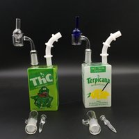 Wholesale Boxing Types - Hitman Glass Water Bong Cereal Box Juice Box Oil Dab Rigs Mini Bubbler 7.5 inches Portable Water Bongs with Quartz Banger Nail