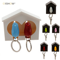 Wholesale Couple Sparrow Key Ring - 2016 New Arrival llavero Whistle Bird House key chains couple Wall Mount Hook Sparrow Birdhouse Key chain key ring for the keys