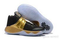 Men spring draw - 2016 New Kyrie Drew League Championship Black Gold Sneakers men Kyrie2 Irving Triple Black White Mens Basketball Shoes
