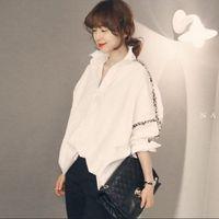 Wholesale new korean women fashion blouse - Women Tops Autumn New Solid Color Women Office Shirts Ladies OL Basic Crochet Long Sleeve Blouse Shirt Korean