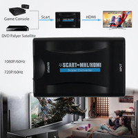 Wholesale Hdmi Scart Tv - Wholesale- SCART To HDMI MHL Video Audio scart Converter AV Signal Adapter HD Receiver TV DVD with UK EU charger Plug