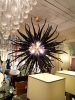 Western Modern Black Crystal Chandelier Round Pure Handmade Blown Glass Contemporary Stair Art Light New Design