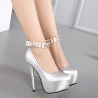 Wholesale Punky Shoes - New 2017 punky rivets patent PU leather silver black ankle strap platform high heels pumps women wedding shoes size 34 -39