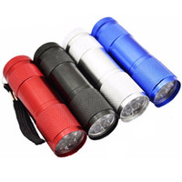 Wholesale Highlight Torch - Alluminum Alloy Highlight AAA White Light 9 LED Torches Camping Flashlight