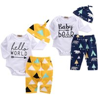 Wholesale Bear Hello - Infants baby leter printing romper 3pc set hat twist hat+long sleeve romper+tree bear print pants ins hot baby bear hello world outfits