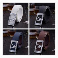Wholesale Wholesale Leather Belt Straps - Wholesale- New brand designer mens belt luxury style real leather belt men women metal buckle belt male Jeans pants PU leather ladies strap