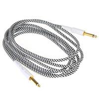 черный кабель оптовых-Гитара кабель 3 м / 10 футов черно-белая ткань плетеный твид гитара кабель шнур для музыкальных инструментов