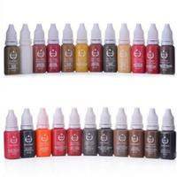 colores de tinta de tatuaje envío gratis al por mayor-5 Unids Tatuaje Permanente Pigmento de Maquillaje Tinta Cosmética Para el Delineador de Labios maquillaje de Labios 15 ml / Botella Envío Gratis