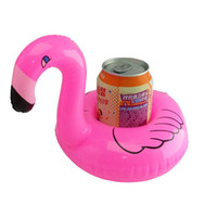Wholesale Pool Can - Flamingo Inflatable Tin Cans buoy Lifebuoy Swim ring Float Cold cup tray fun creative pool toys