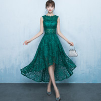 Wholesale High Low Sheer Waist - High Low Lace Prom Dress Gowns 2017 O-Neck Tank Sheer Waist Emerald Green  Hunter Mother of the Bride Dresses Cheap Party Dresses