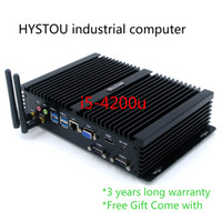 Wholesale Pc Card Com - Fanless Industrial Computers Intel Haswell dual core i5 4200u Rugged PC RJ45 Nic 2 COM Memory Hard Disc WiFi