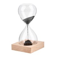 14cm high x 7cmdiamete black sand hourglass - Hand blown Timer clock Magnet Magnetic Hourglass sand clock hourglass timer Gift Home Decor