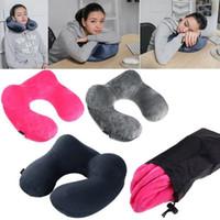 Wholesale Rest Pillows - U-Shape Inflatable Travel Pillow Air Cushion Sleep Neck Pillow Travel Rest Car Flight Seat Pillow 100pcs OOA2336