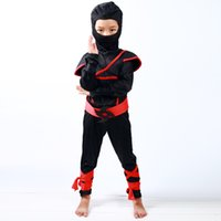 Wholesale Play Boy Clothes - Wholesale- Japan Style Kids Red Black Ninja Play Costumes Set Halloween Boys Assassin Clothing Suit Girls Samurai Christmas Party Wear