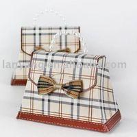 Wholesale Purses Party Favors - 7.3x2.3x4.5cm Mini Paper Gingham Women Bag Purse Shape Wedding Bridal Shower Party Favors Purse Bag Gift Bag12pcs