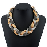 Wholesale Twisted Chunky Choker Necklace - metal mesh rope chain twisted chunky choker multi colored crystal braided big necklace 2017 women punk jewelry