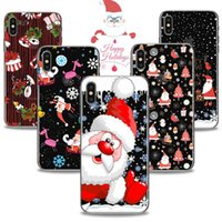 Wholesale Elk Painting - Merry Christmas Santa Claus Elk Printing Painting Phone Soft TPU Gel Clear Transparent Back Case For iPhone X 6 7 8 Plus DHL