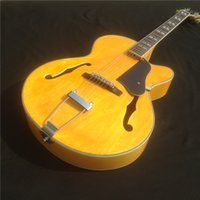 Wholesale Guitar L5 Jazz - New arrival yellow color L5 Full Hollow body Jazz Guitar China F Holes Guitar Custom Available Electric guitar free shipping