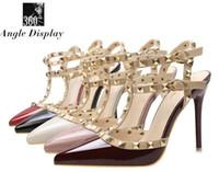 bombas de brillo rojo al por mayor-Zapatos de mujer de marca Tacones altos Mujeres Bombas 34-39 Zapatos de tacón de aguja brillantes Zapatos de tacón de aguja de 10CM Zapatos de tacón de aguja de cuero rojo