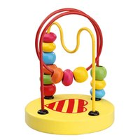 Wholesale Toddler Wooden Beads - Wholesale- New Design Math Toys Children Kids Toddler Baby Colorful Wooden Mini Around Beads Wire Maze Educational Toy FCI#