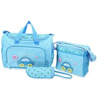 Wholesale Cavas Bags - Wholesale-Fashion Cute Baby Diaper Bags Cavas Mummy Bag 3pcs Multifunctional Car Pattern Nappy Changing for Mothers