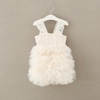 Wholesale Bridesmaid Dresses Embroidered - Girls Ball Gown lace fashion little girls knee length princess party dress kids tiered tulle TUTU dress children bridesmaid dresses T3494